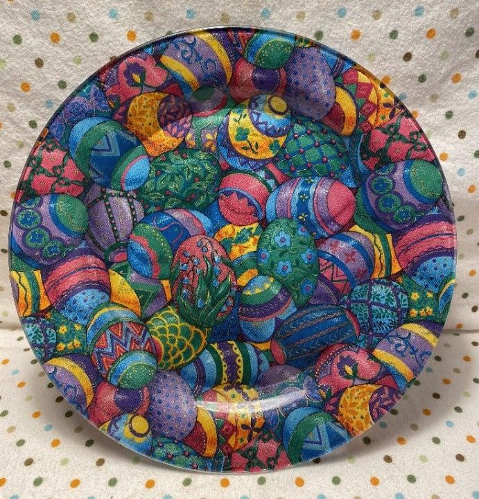 Handmade 10 in Colorful Easter Egg Plate