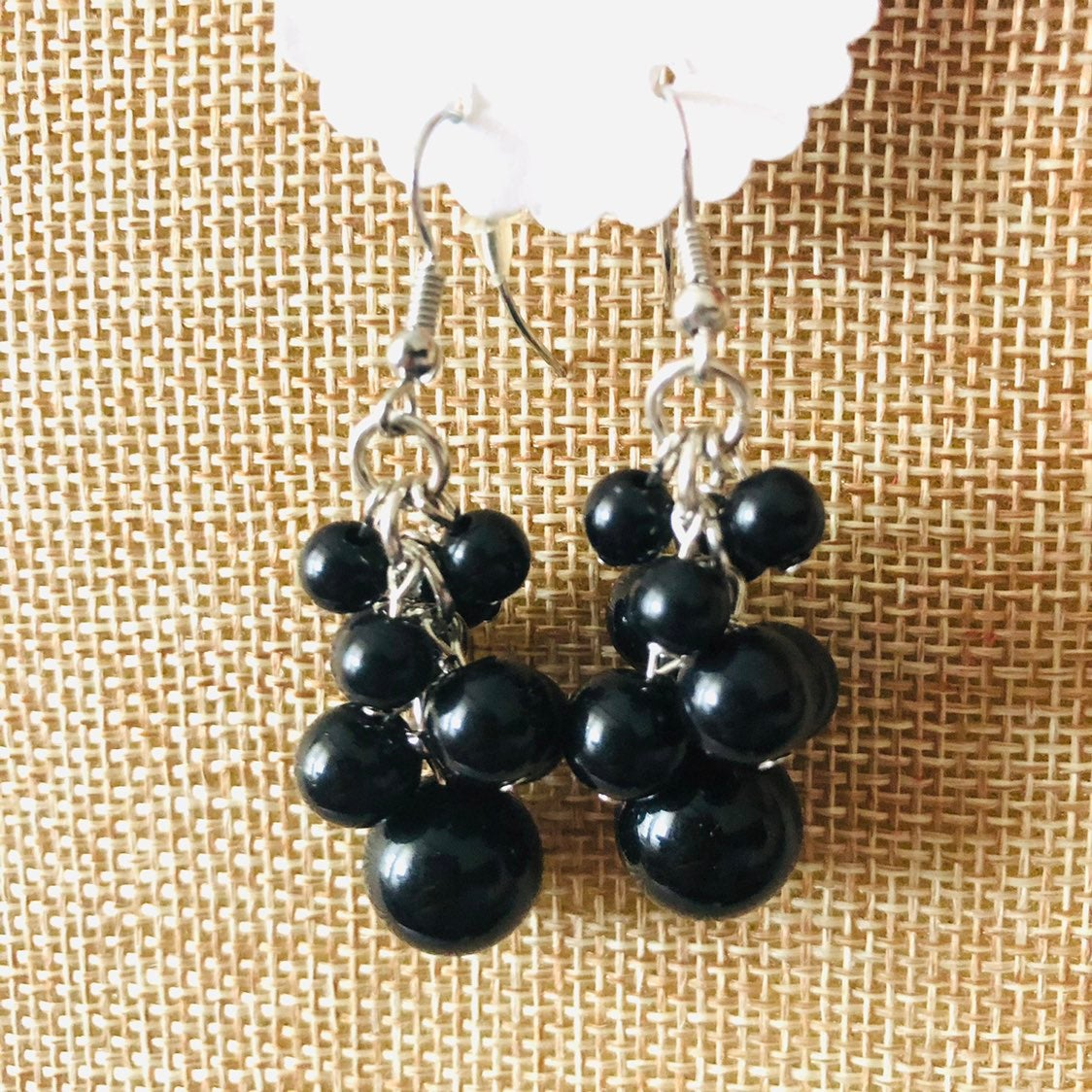 Black drop Earrings - new