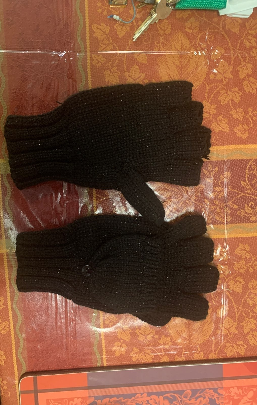 new york and company gloves black gitter