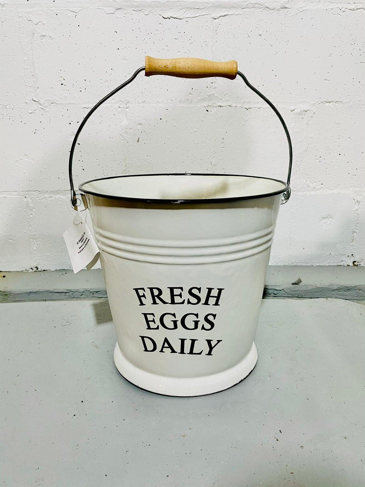 Fresh Eggs Daily Bucket Farmhouse Decor
