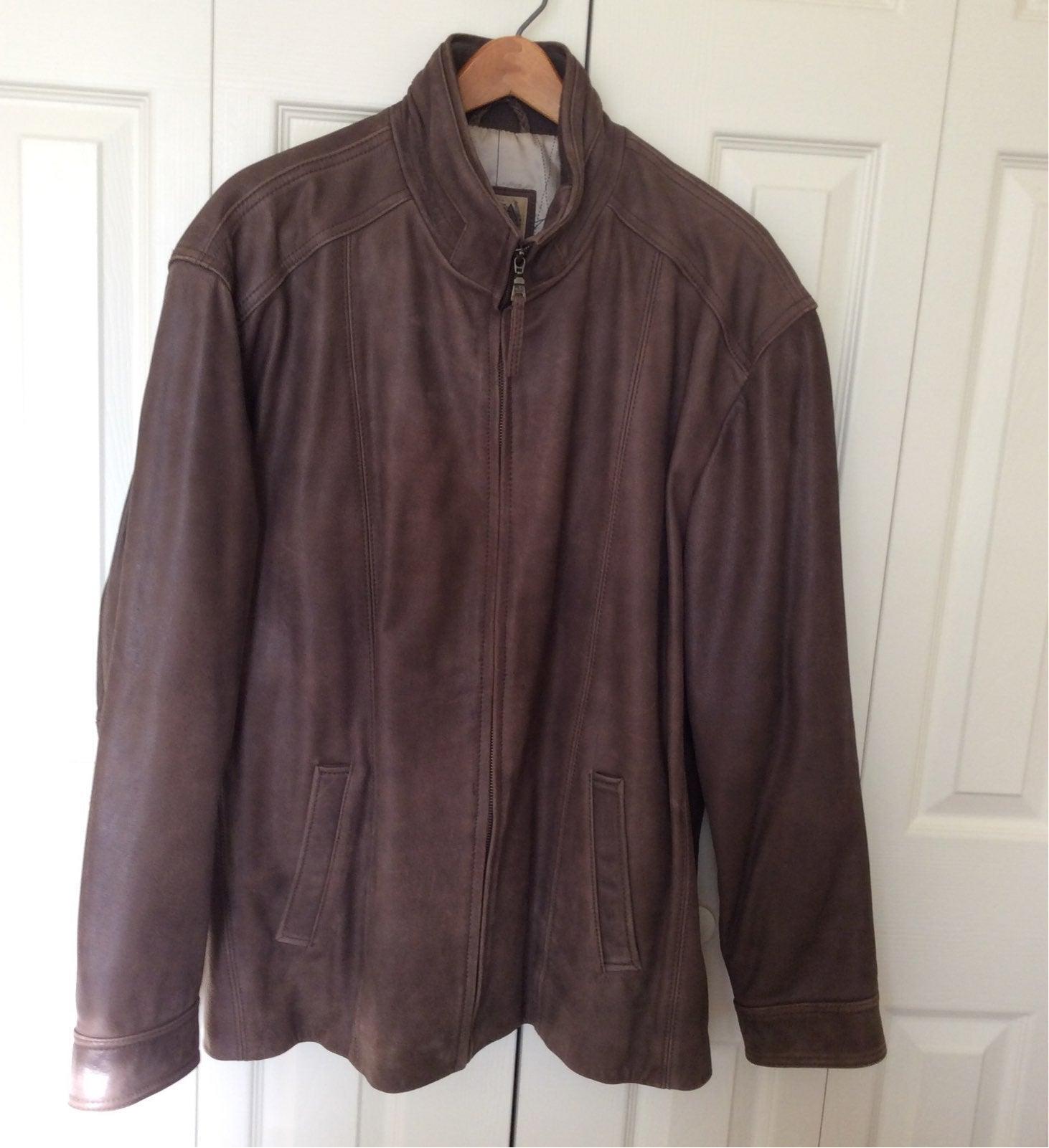 Mens XXL JoABanks Brown Leather Jacket