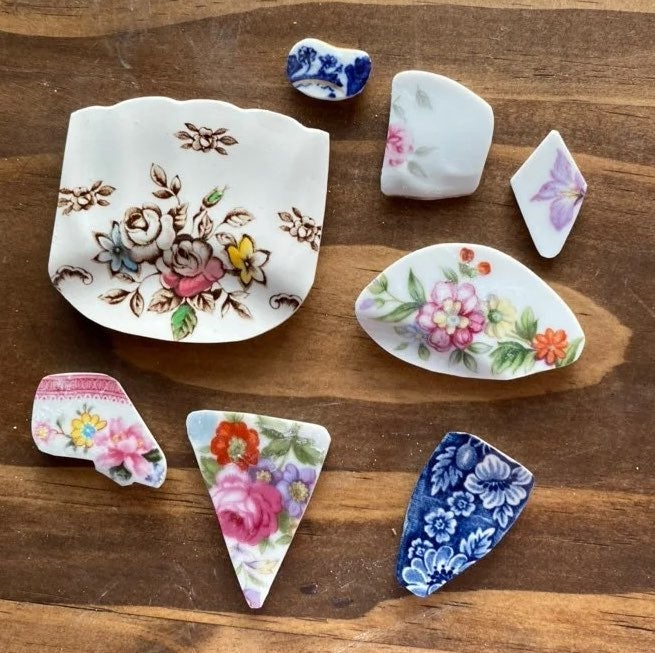 Broken china pieces for crafting