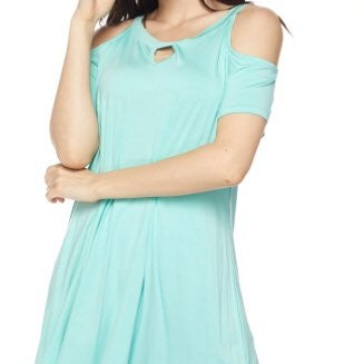 Cold Shoulder Mint Tunic Top
