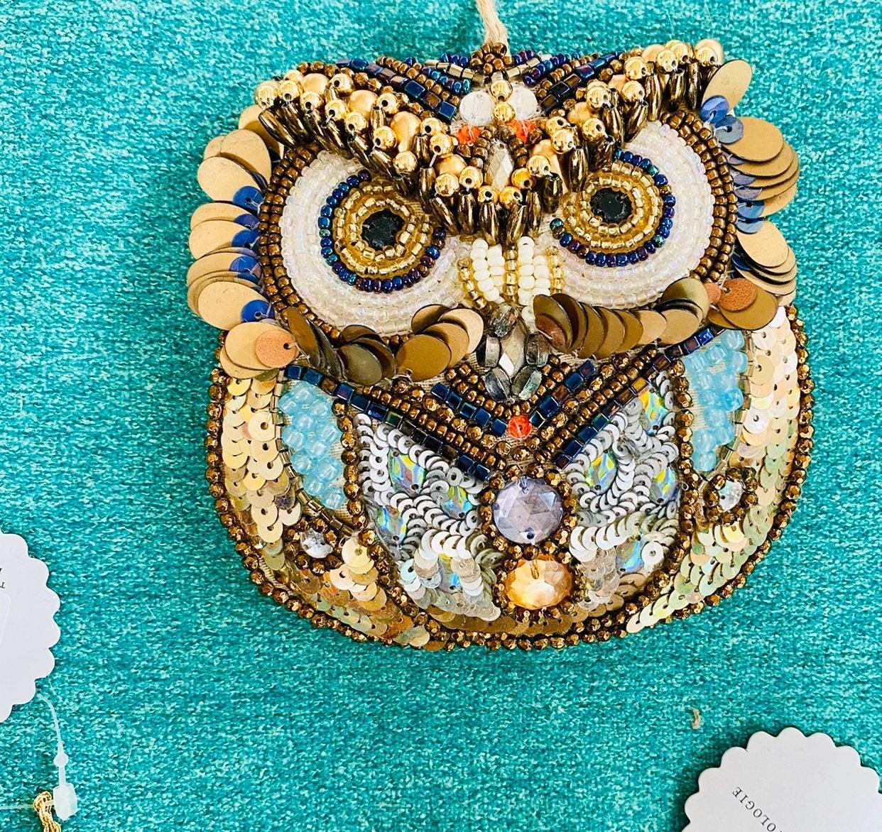Owl beaded ornament bird art deco glass