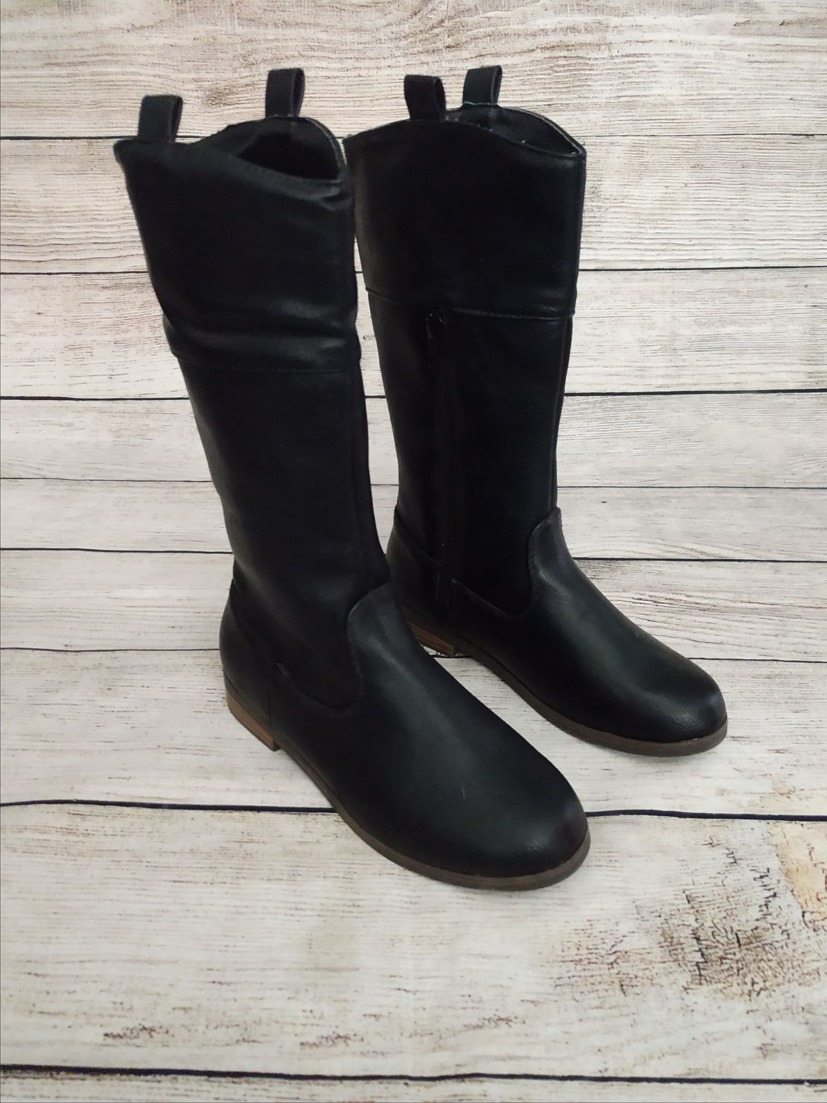Old Navy girls high top black boots 13