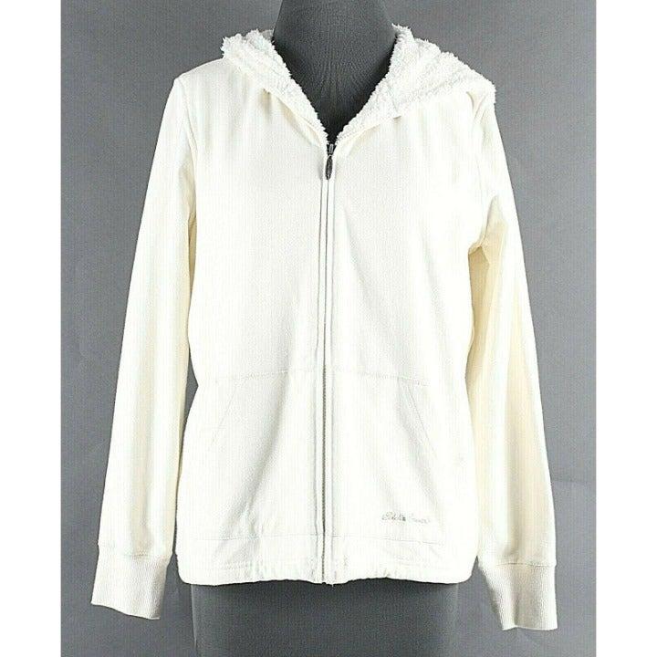 Eddie Bauer Sz L Ivory Hooded Sweater