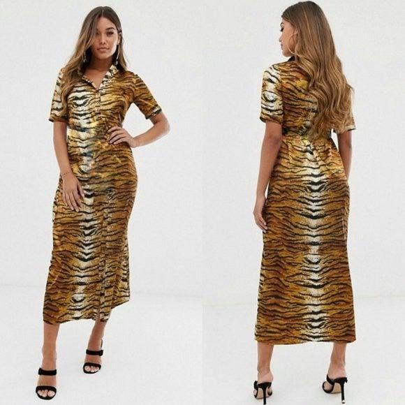 Missguided Midi Shirt Dress in Tiger Pri