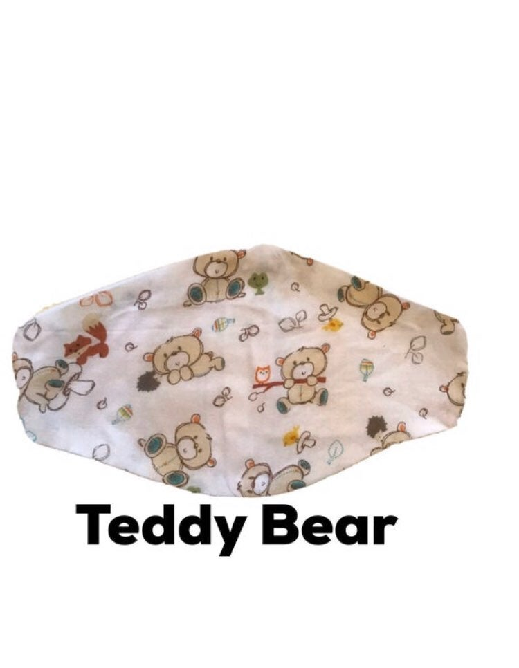Handmade Face Mask Teddy Bear Print