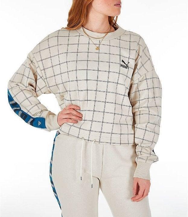 Women PUMA Cropped Crew Sweatshirt - M