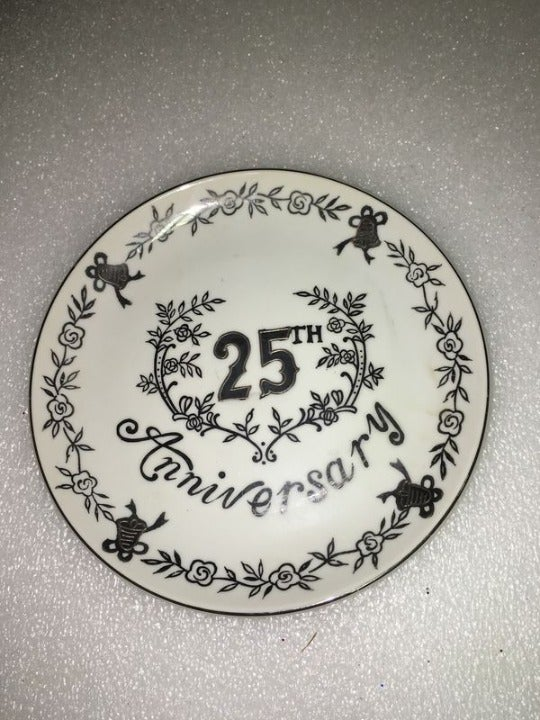 Vtg Enesco 25th Silver Anniversary Plate