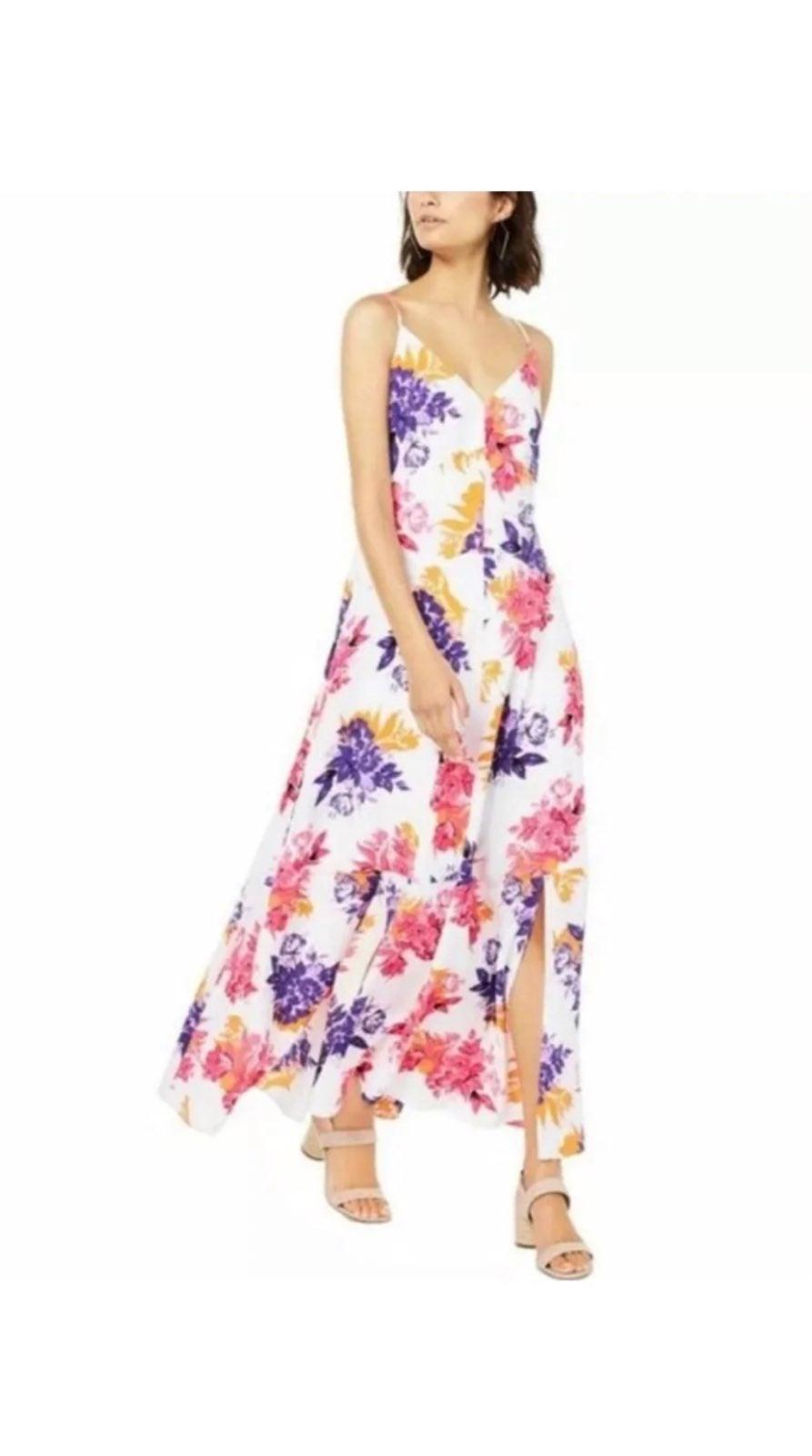 Bar 111 floral side slit maxi dress nwt