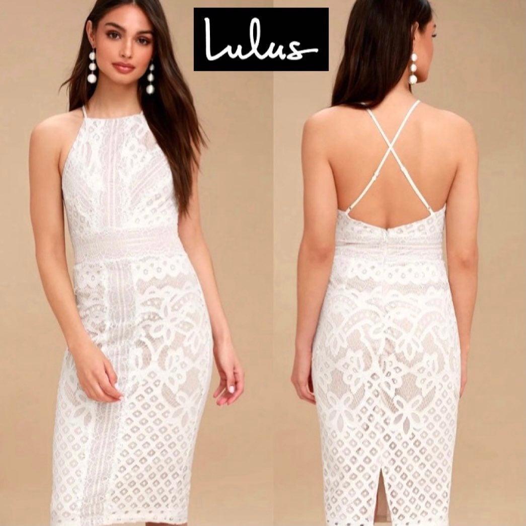 Lulu's Primrose Lace Bodycon Midi Dress
