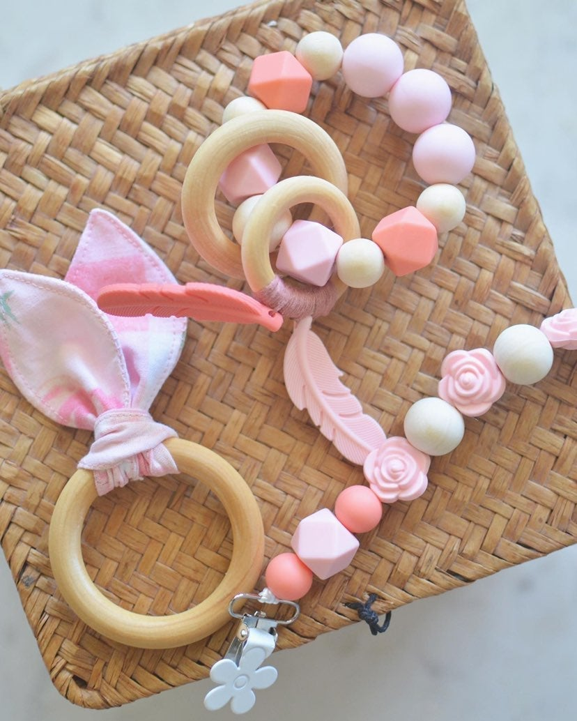 Montessori Baby Pacifier Clip + Teether