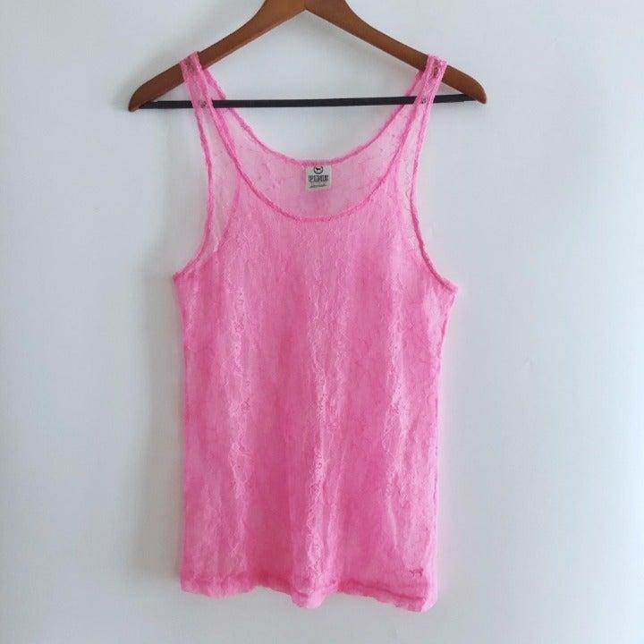 PINK Sheer Lace Tank Top