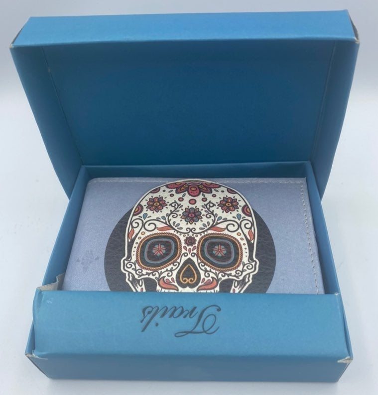 sugar skull wallet handcrafted beautiful