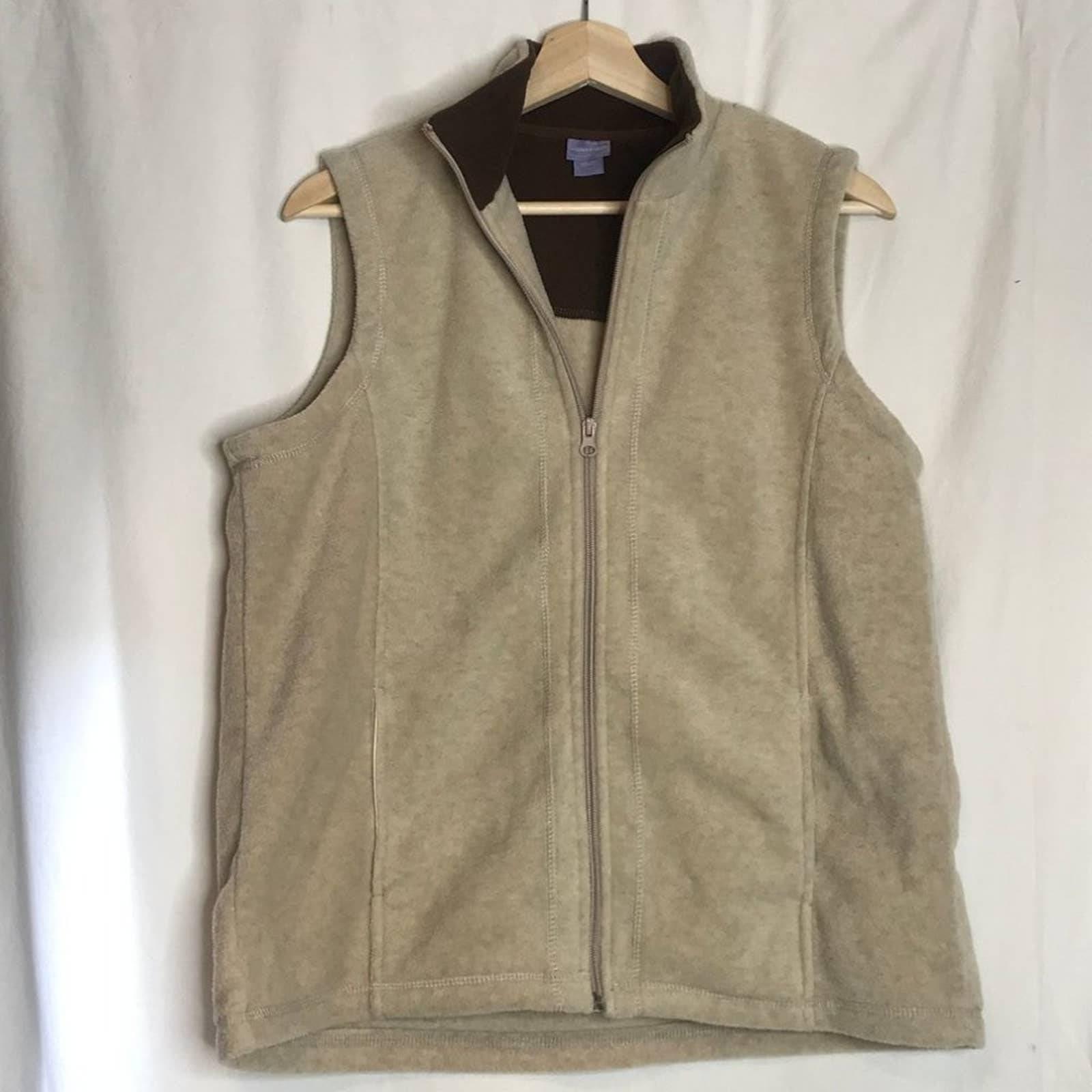 LAURA SCOTT Tan Fleece Vest Tan Brown S