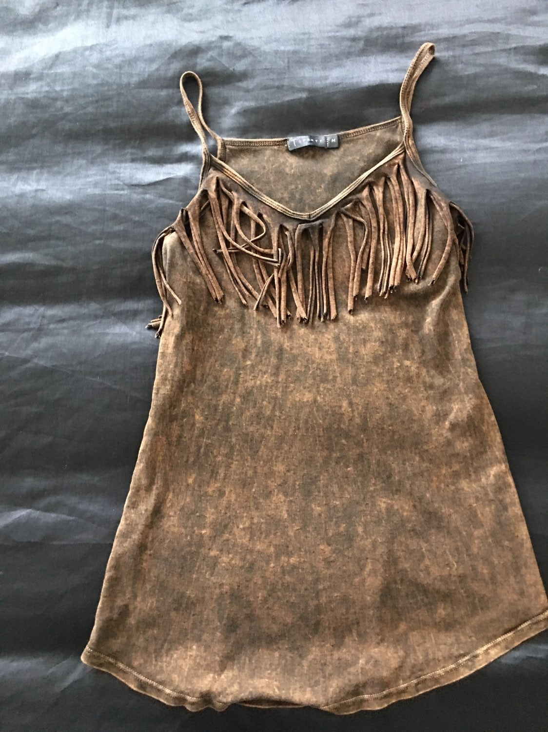 T-Party Stone And Fringe Side Slit Tank