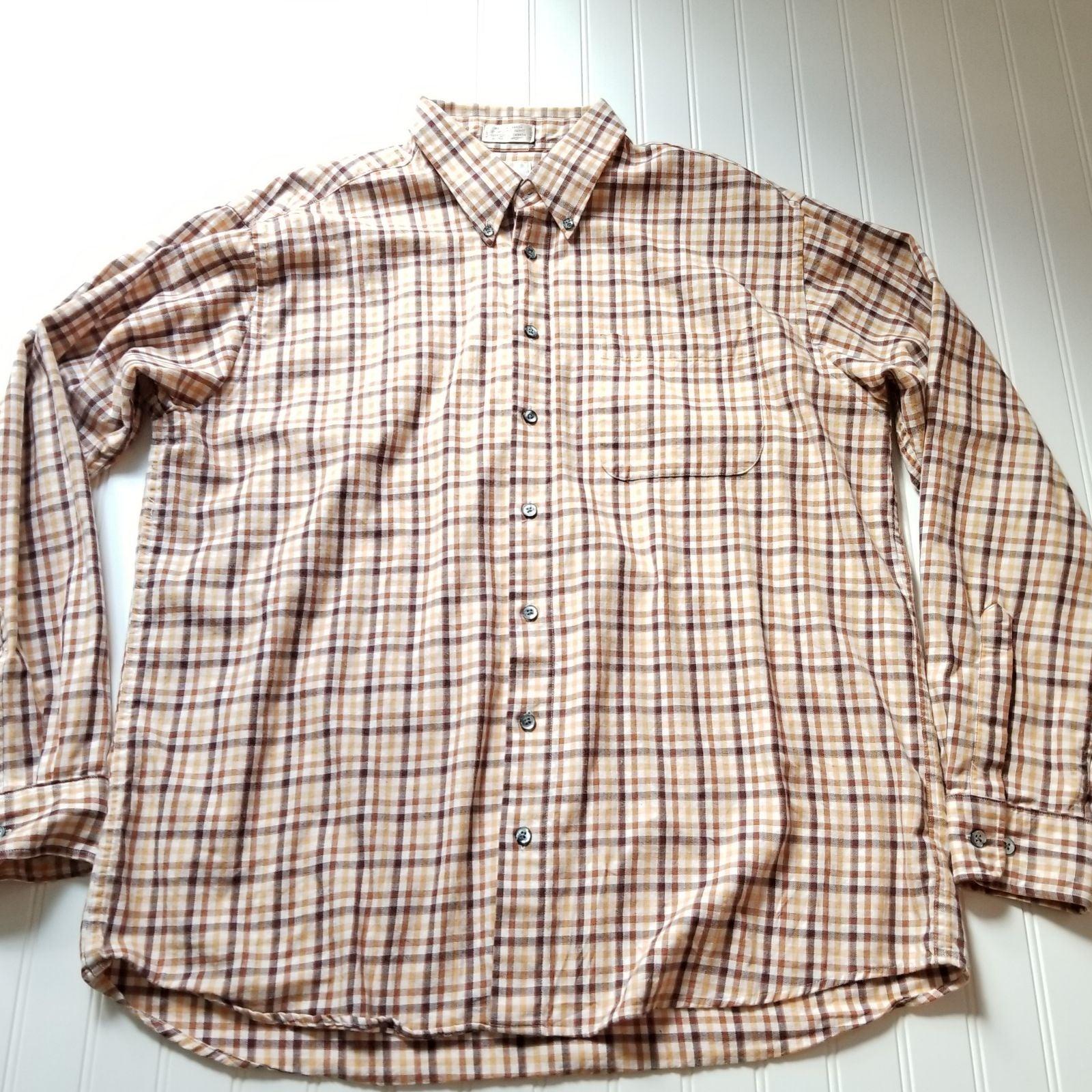 Brown Plaid Viyella Oxford Shirt Mens XL