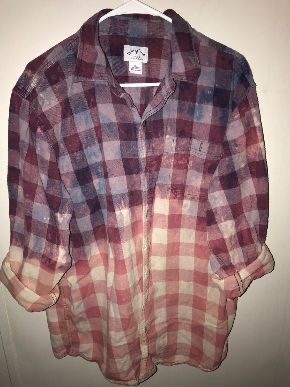 Custom bleached & dyed ombre flannel