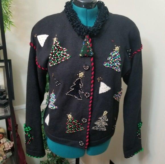 Christmas Sweater VTG Berek2 Embellished