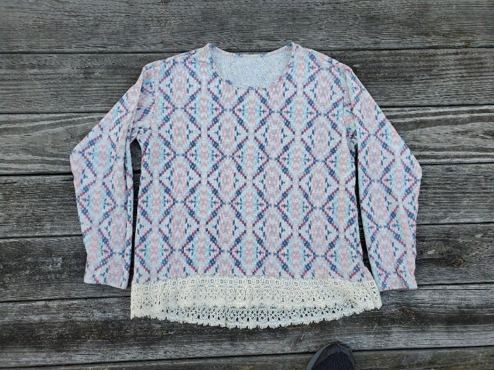 ARIZONA JEAN COMPANY Aztec Desert Lace Long Sleeve Top sz XXL 2X