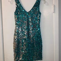 7877072a5f5 Silver   Turquoise Sequin Dress. Charlotte Russe