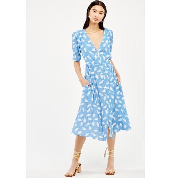 CAPULET Blue & White Leaf Print Dress