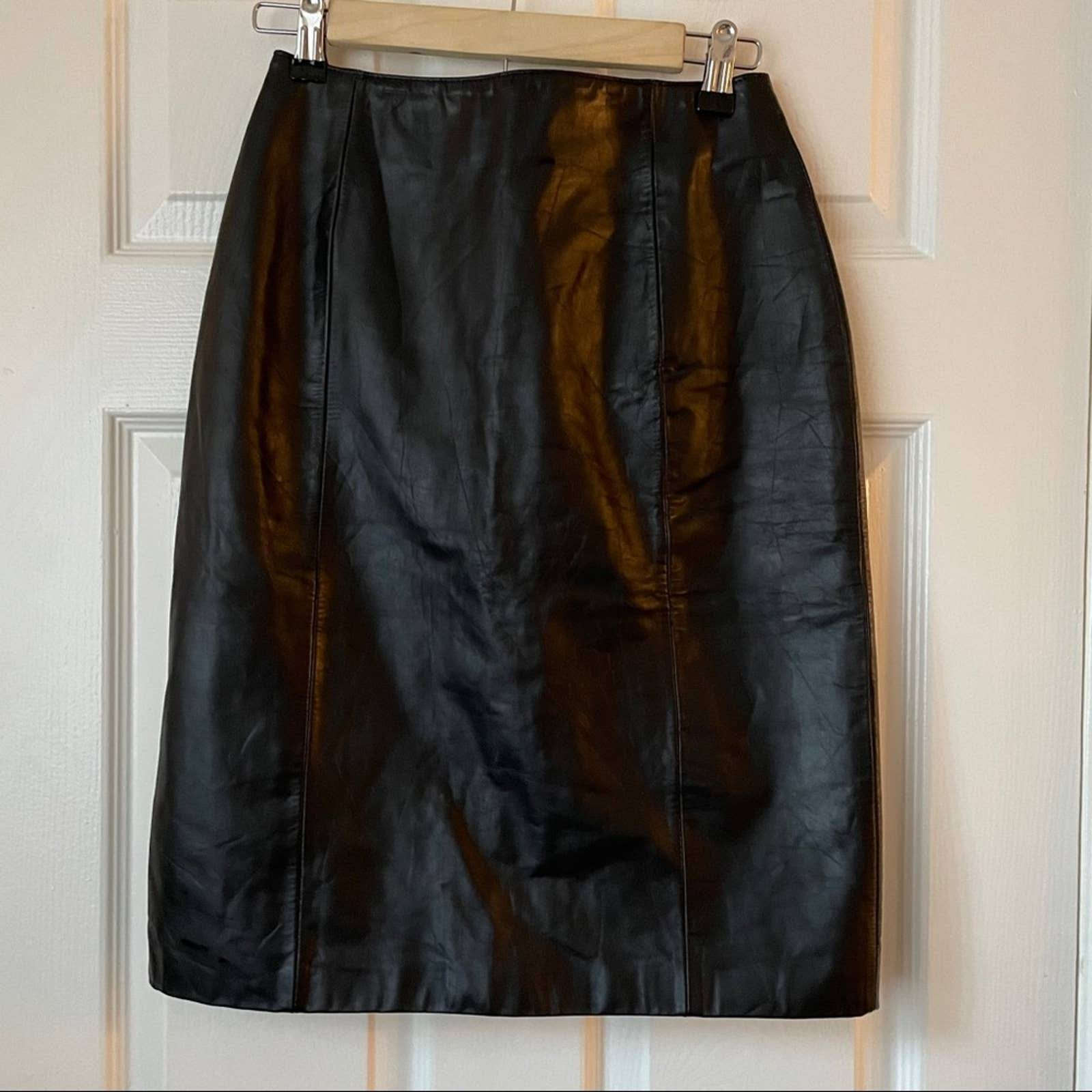 Wilsons Vintage Real Leather Skirt Black