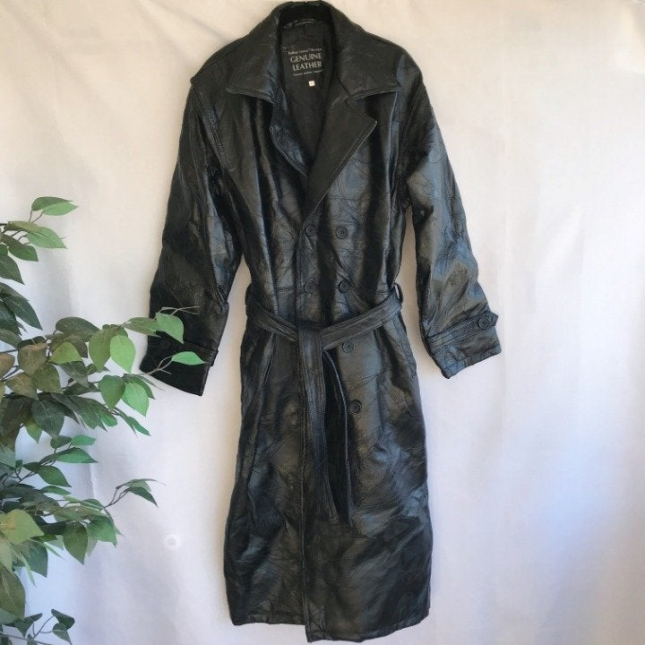 Navarre Leather Coat Mens Long Trench M