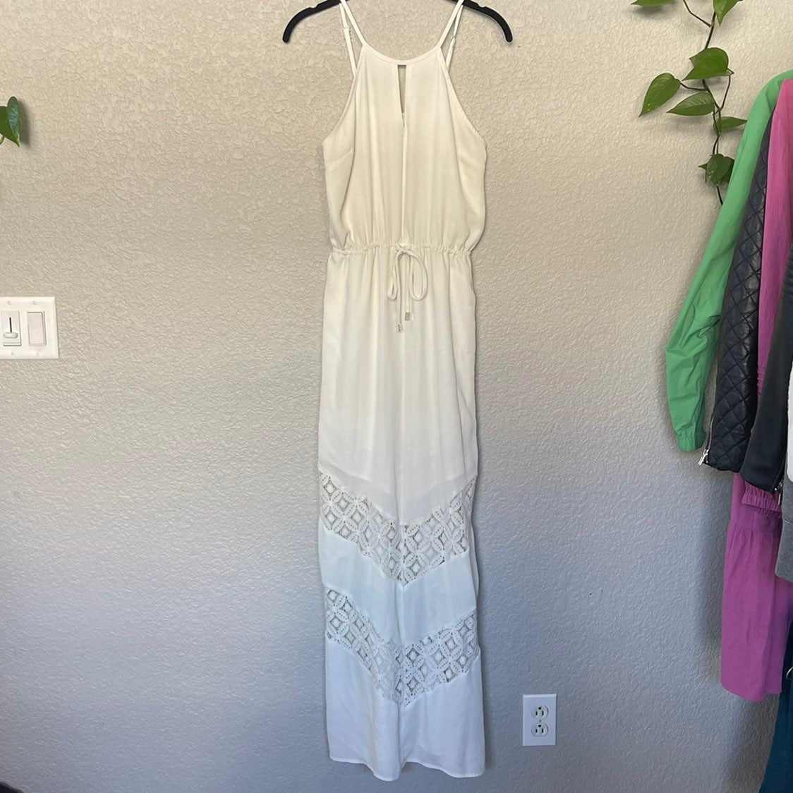 Bar III Maxi Dress Lace Tie Waist