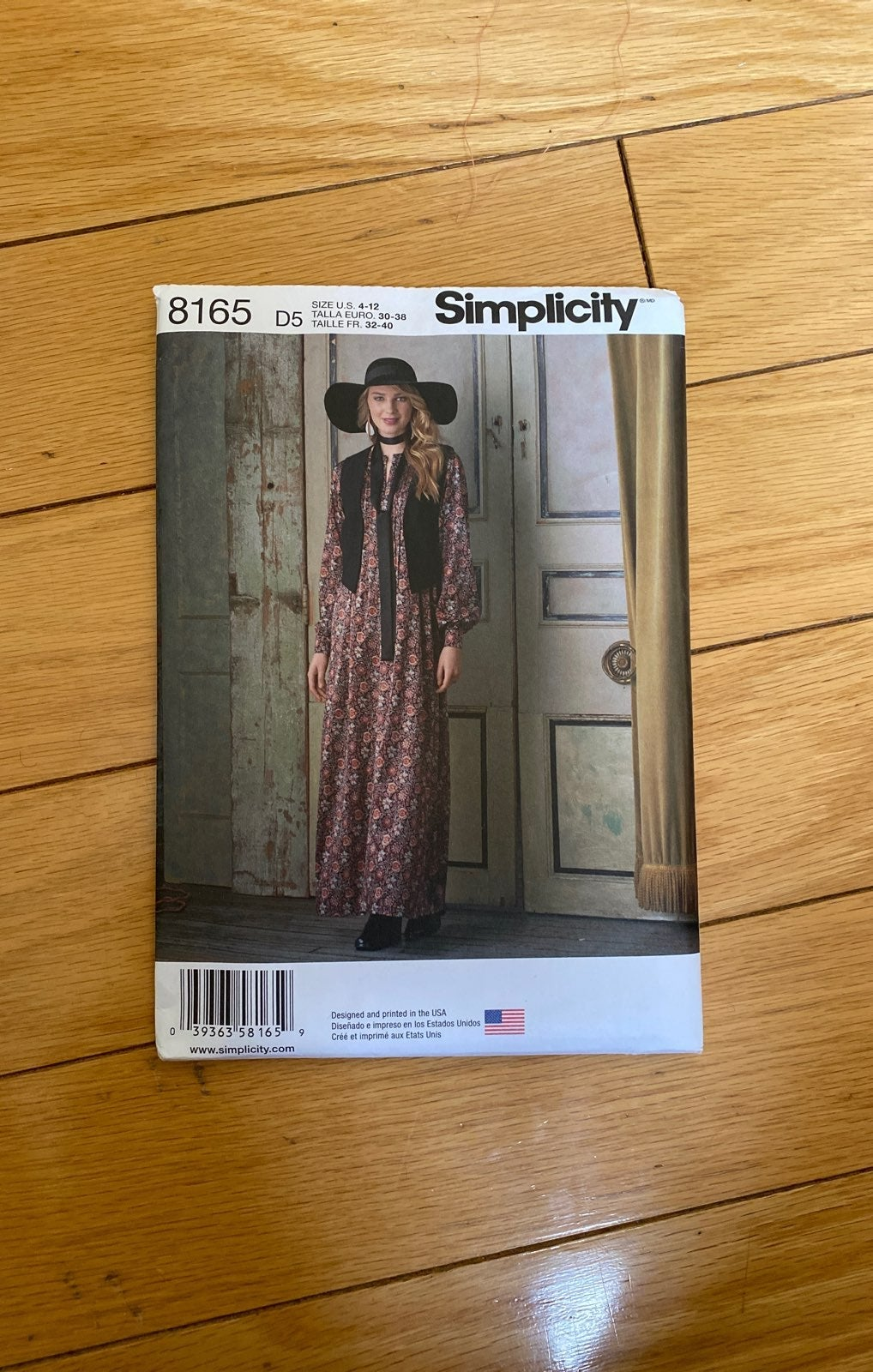 Simplicity 8165 sewing pattern