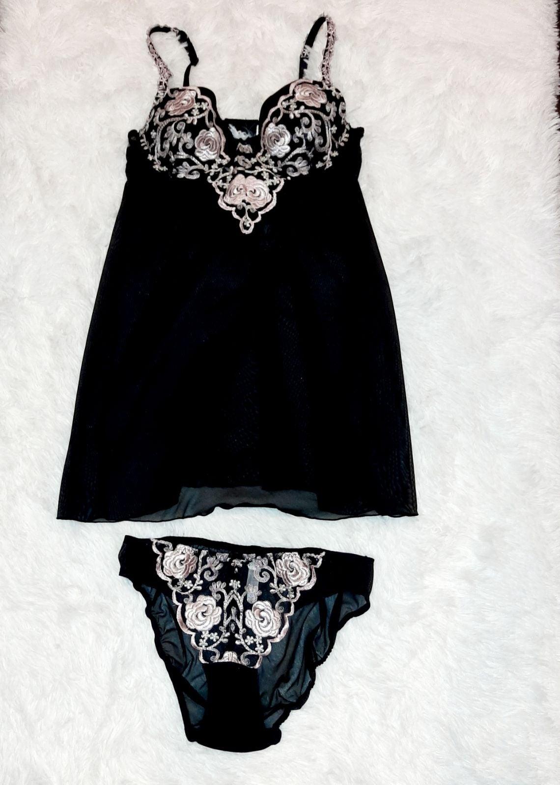Black mesh floral lingerie top & panty