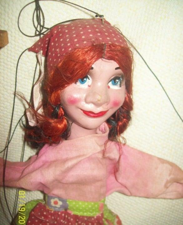 """Vtg Mexico Babushka 14"""" Marionete Puppet"""