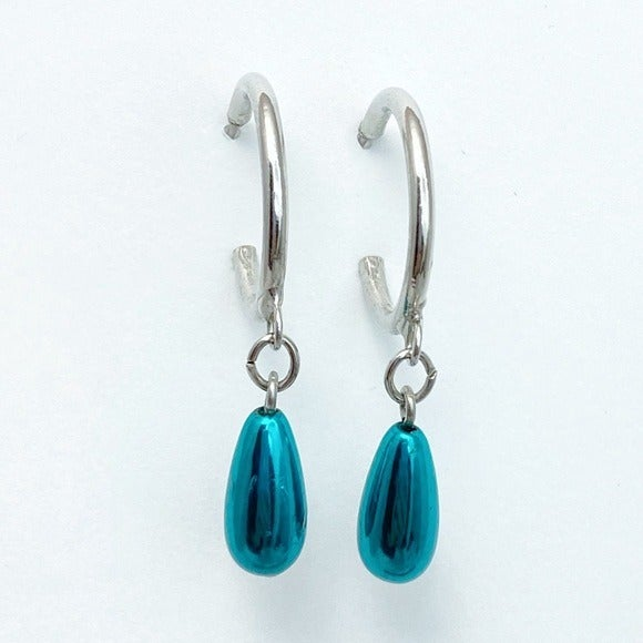 Simple Silver Hoops with Teal Drops