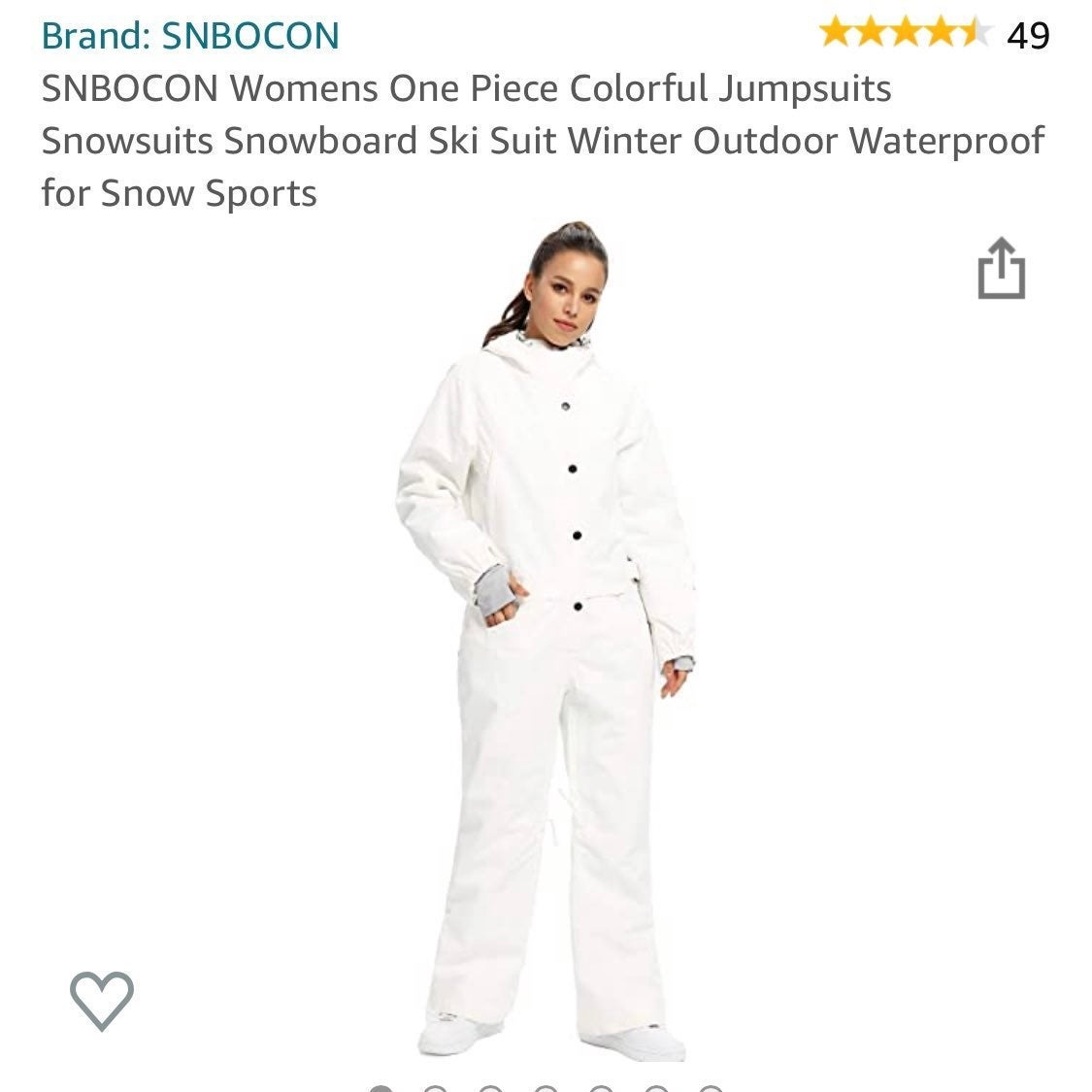 ski suit snowsuit in white -- brand new