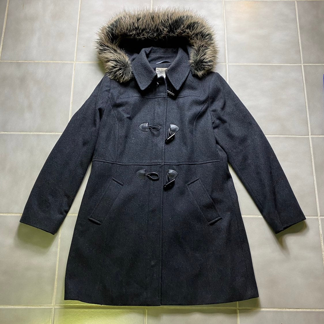 Nautica Wool Toggle Button Pea Coat Fur