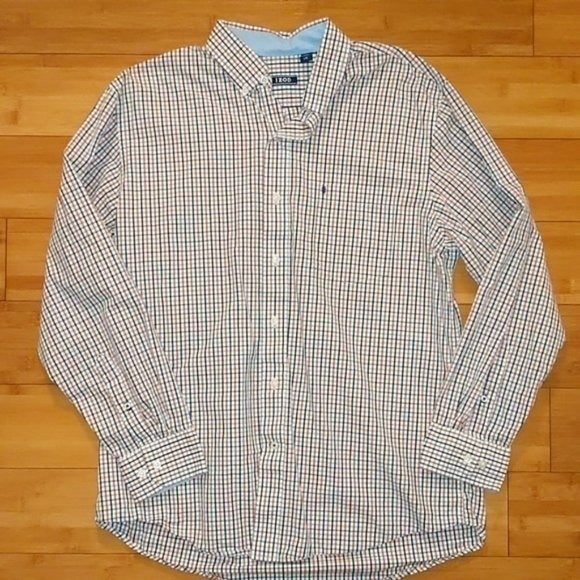 Izod Orange and Blue Checkered Button Up