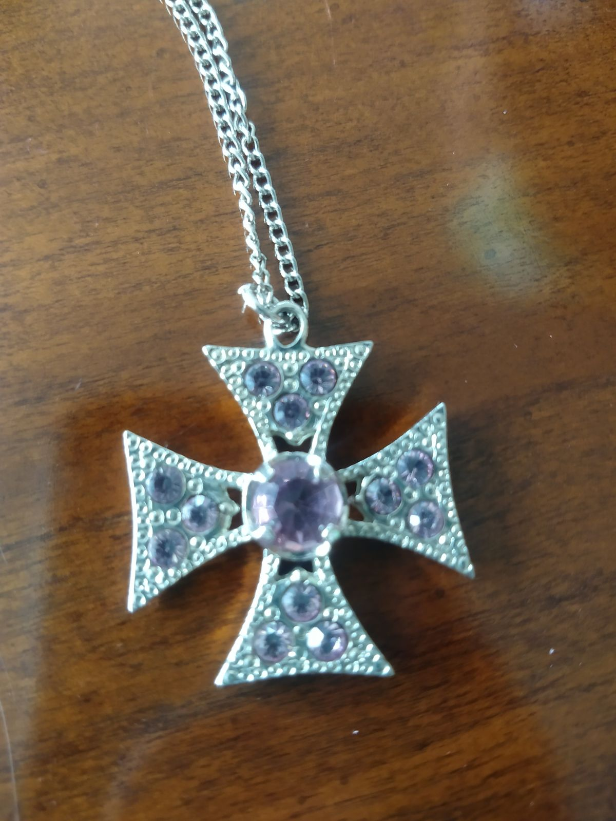 Amethyst Iron Cross Necklace