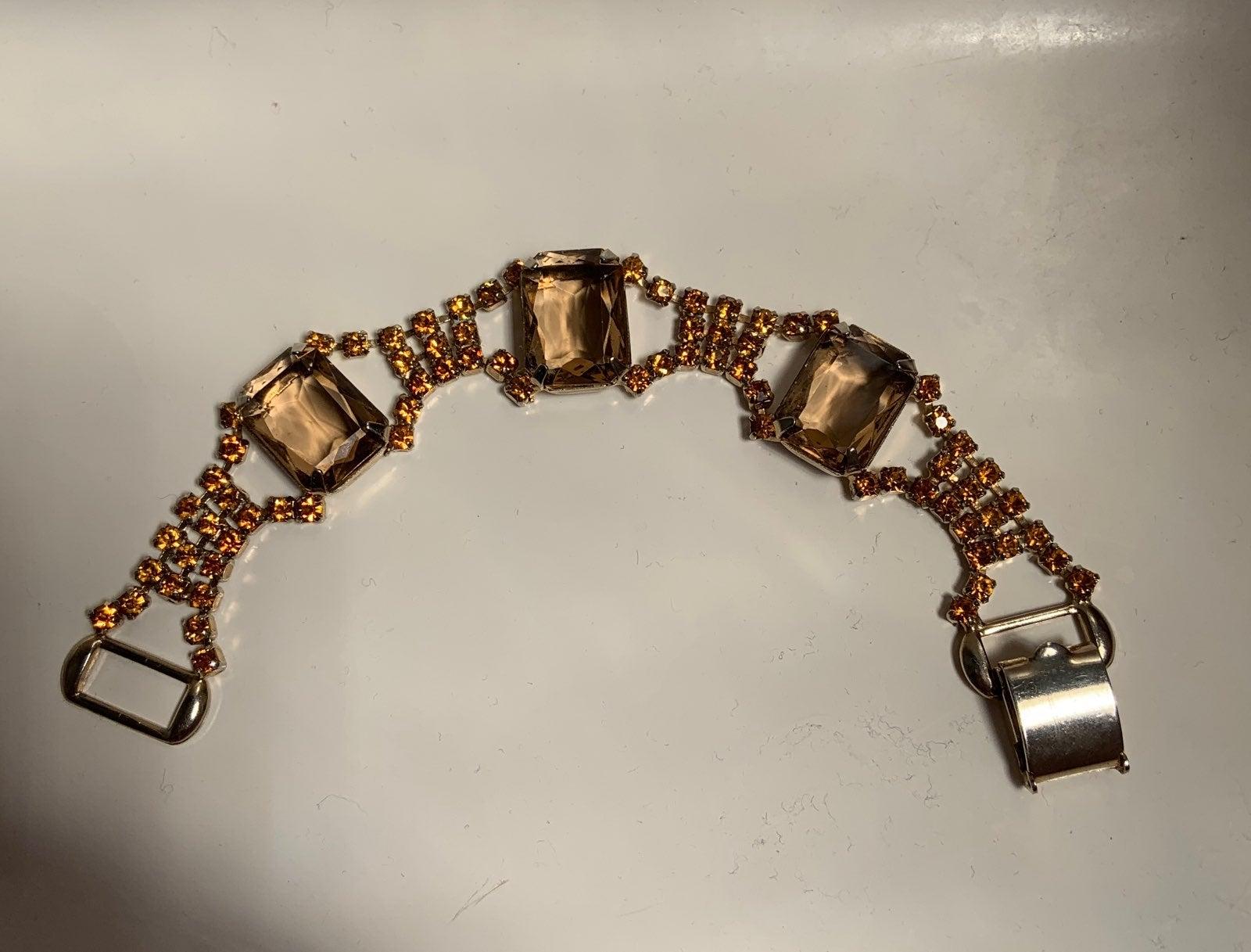 Vintage Brown & Orange Crystal Bracelet