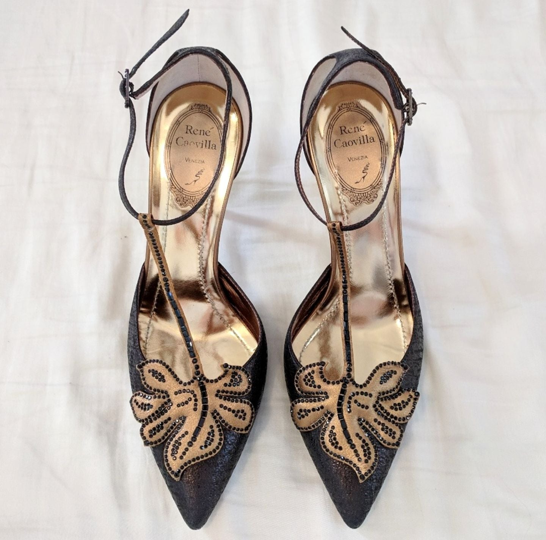 Rene Caovilla Olive Gold Heels