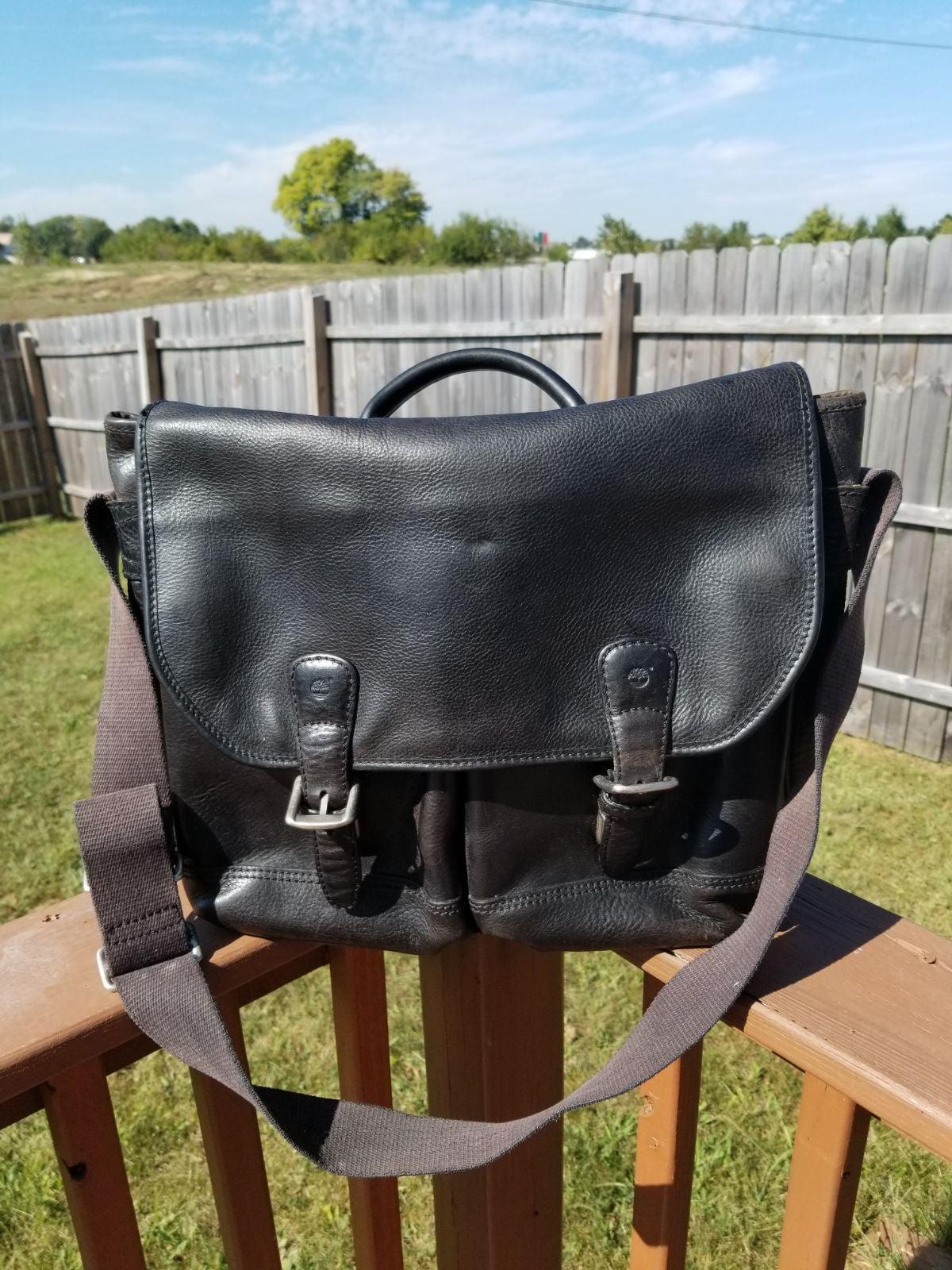 timberland brown leather messenger bag