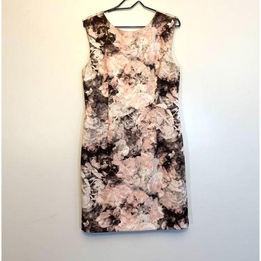 Tahari Dress Pink & Grey Floral V-back Scuba Sheath Dress size 12