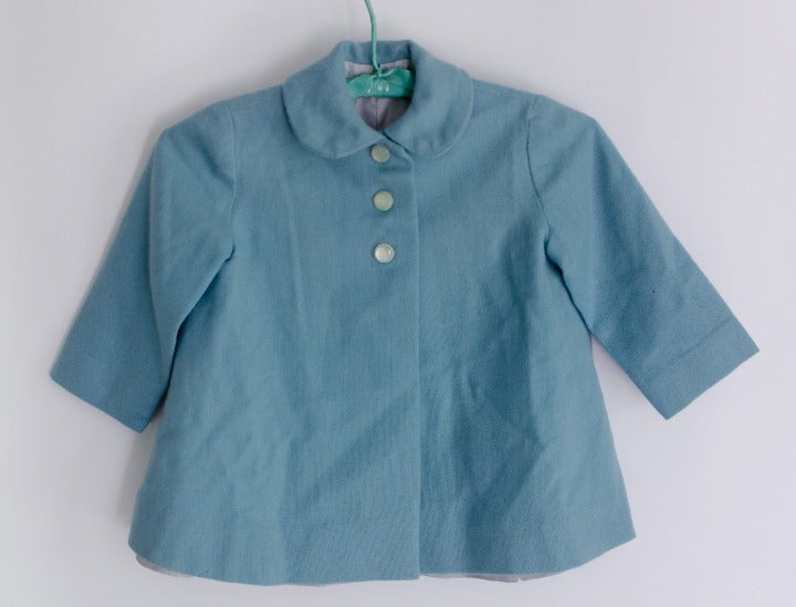 Vintage 1950s Girls COAT Blue Wool