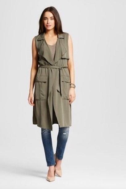 Women's long vest olive green cape