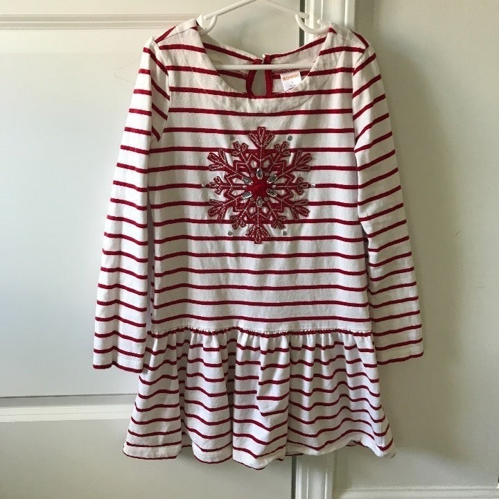 Gymboree Girls Snowflake Striped Dress 8