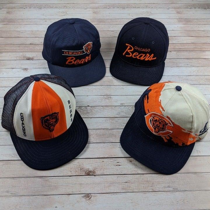Lot of 4 VTG 80s/90s Chicago Bears Hats