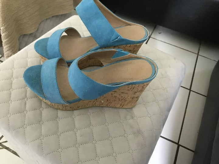 Suede Wedge Sandal 7 W