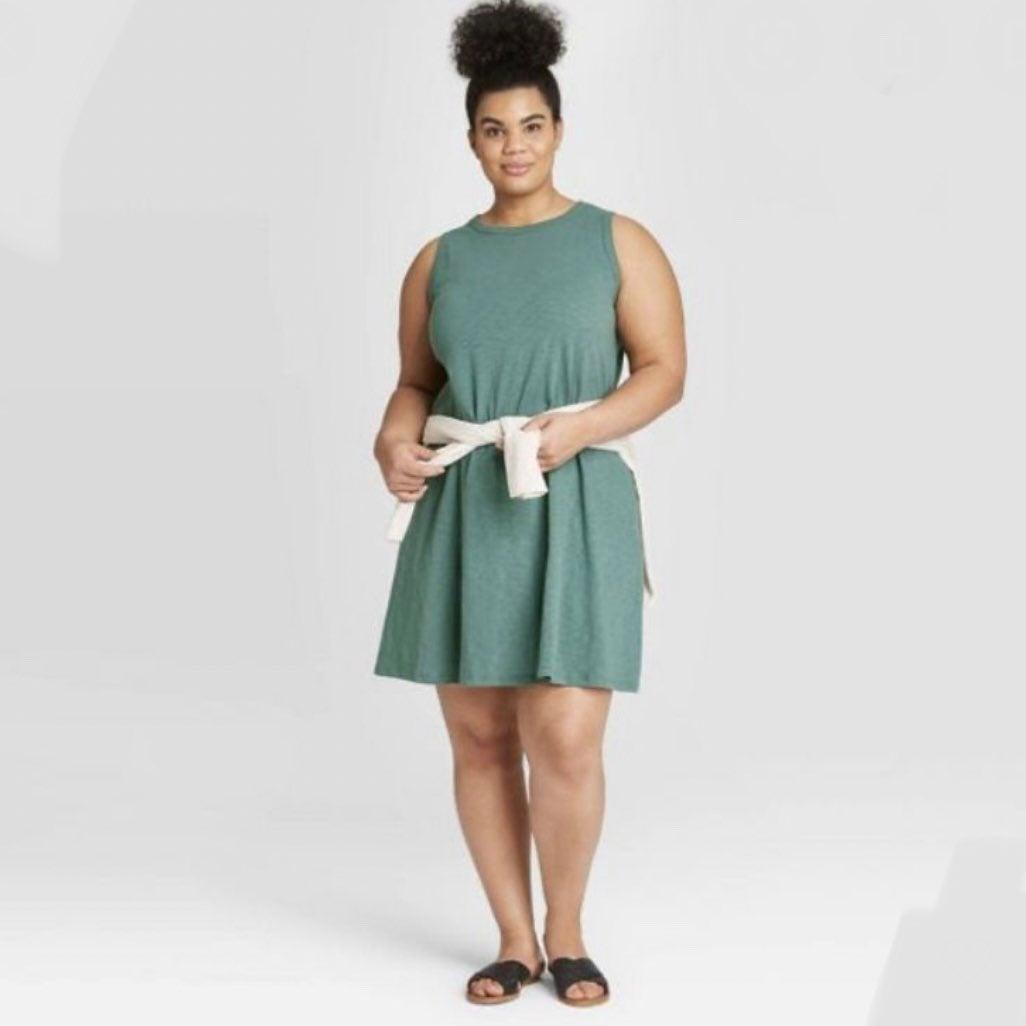 Sleeveless plus size green knit Dress 3x