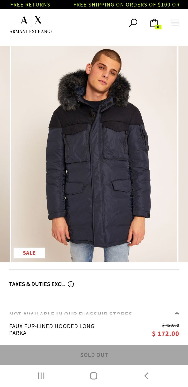 Armani exchange winter/snow  coat