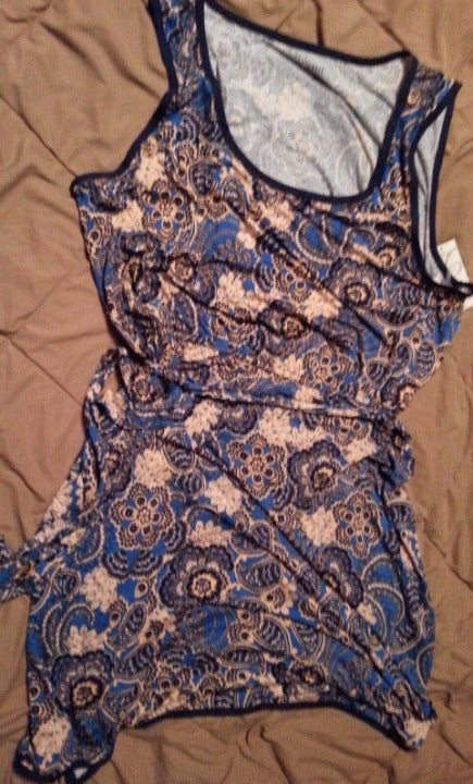 NWT a.n.a 2x Blue and Pink Paisley Dress